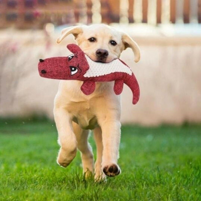 Pet Dog Toy Linen Plush Crocodile Animal Toy Dog Chew Squeaky Noise Toy Cleaning Teeth Supplies Toy Tough Interactive Doll 1PC 8