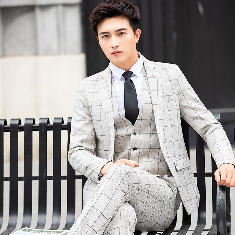 High Quality Mens Plaid Suit 3-Piece Spring & Autumn Slim Men Blazer With Suit Pants And Vest Wedding Party Mens Suits