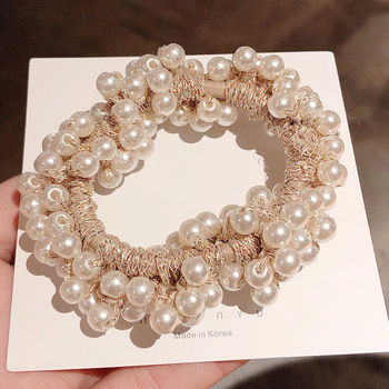 14 Colors Woman Elegant Pearl Hair Ties Beads Girls Scrunchies Rubber Bands Ponytail Holders Hair Accessories Elastic Hair Band 24