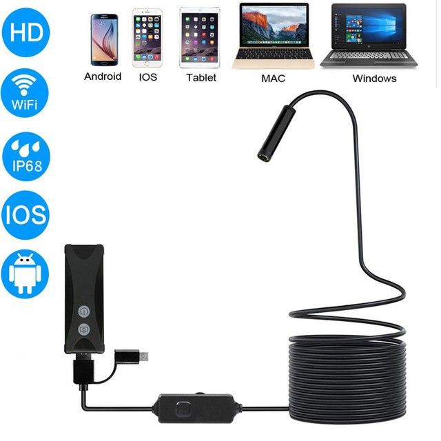 WIFI kamera endoskopowa HD 1200P 1 10M Mini wodoodporny drut twardy bezprzewodowy 8mm 6 LED kamera boroskopu dla Android PC IOS endoskop