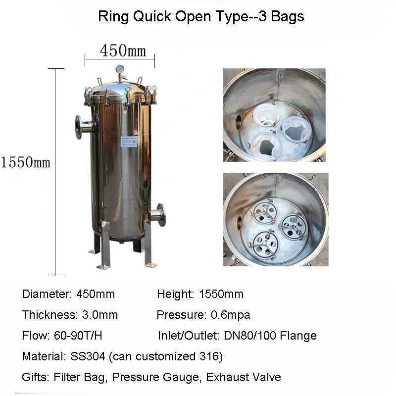 SS304 Bag Type Filter Industrial Big Flow Strainer High Precion Ring Quick Open Filter Flange Inlet 60-240T/H