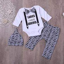 3PCS/Set Newborn Baby Boy Romper Suit Top + Pants Hat Bow Tie Long Sleeve Jumpsuit Set
