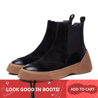 MLJUESE 2019 women ankle boots pigskin slip on winter short plush cutouts brown color brogue boots women Chelsea boots