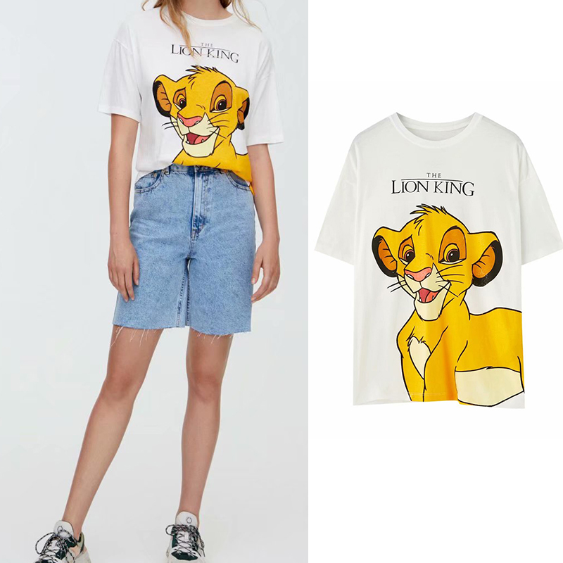 2019 Za T-shirt Women Elegand Style Cartoon Lion Printing O-neck White T-shirt Sweet Female Casual Pullover Short Sleeve Tops