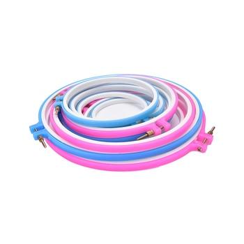1 ud. Práctico bordado de plástico y kit con aro para punto de cruz Marco de aro ajustable DIY herramientas de costura para el hogar