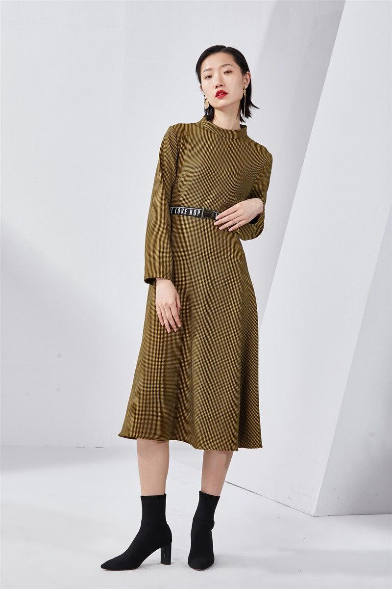 осень 2019 зимнее длинно еплатье бандажное винтажное сарафан женский с длинным рукавом в клетку элегантное бандажное женские