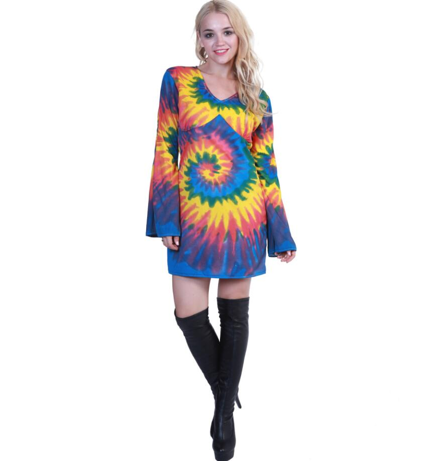 2019 New Halloween Costume For Women Feelin Groovy Disco Dress Adult Rainbow Hippie Party Cosplay