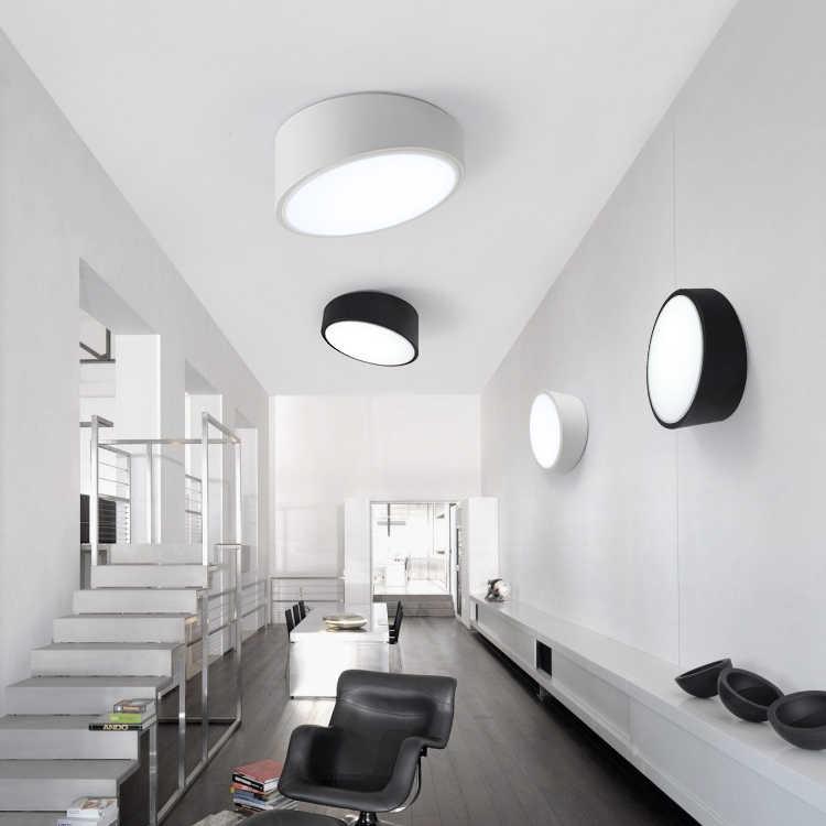 Modern Art Lampu Langit-langit Miring, putaran LED Light Besi Putih Panggang Cat Akrilik Wajah Panel untuk Night Watch dengan Berdiri