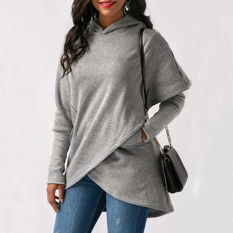 Women Hoodies Sweatshirts Autumn Winter Long Sleeve Pocket Pullover Hoodie 45