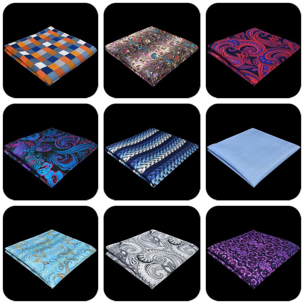 Multicolor Striped Checkes Mens Pocket Square Fashion Wedding Handkerchief Silk Business