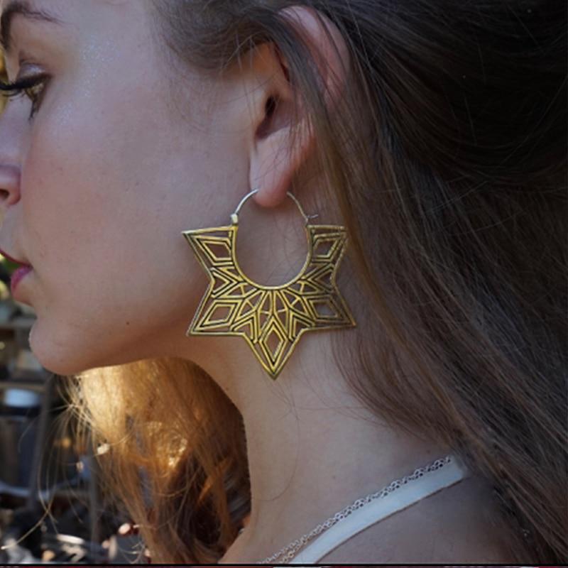 Tocona Bohemia Gold Silver Color Geometry  Earrings Vintage Statement Jewelry Women Dangle Mandala Earrings Femme 2019 9026