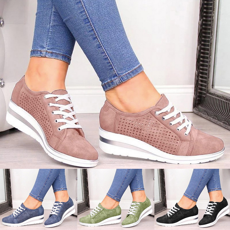 Women Shoes High Heels Walking Shoes Mesh Breathable Sneakers Ladies Fashion Height-Increasing Casual Shoes