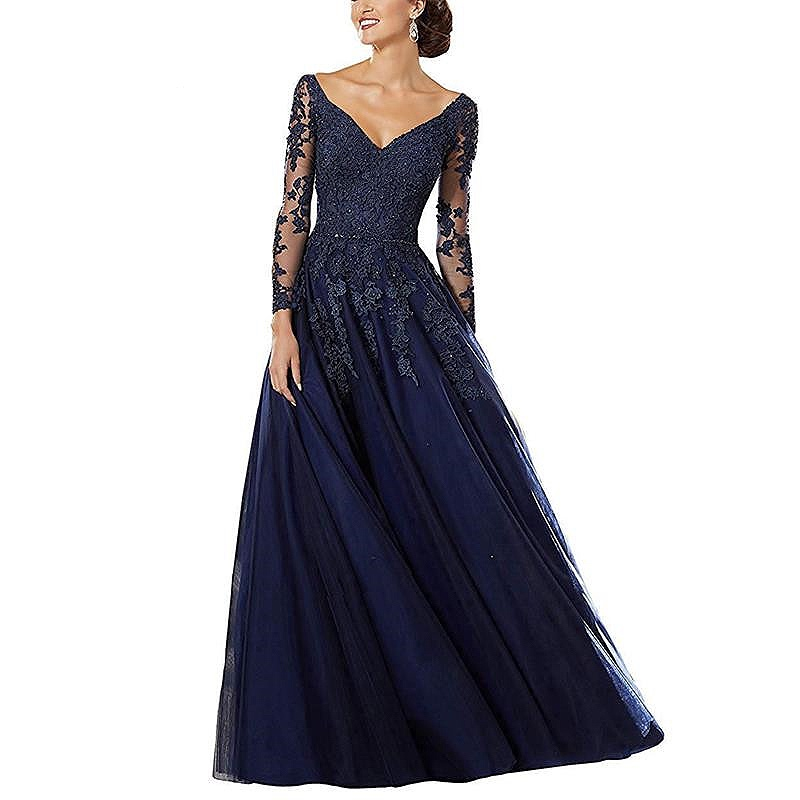 Luxury Long Sleeve Mother Of The Bride Dresses V-Neck Beaded Lace Wedding Mother Gowns Elegant Bule Pluple Evening Formal Dress