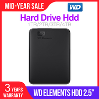 Western Digital WD Elements Portable HDD External hdd 1TB 2TB HDD 2.5 USB 3.0 Hard Drive Disk 3TB 4TB Original for PC laptop