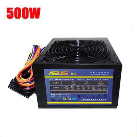 Max 500W ATX 20/24pin 12V 2.0 Passive PFC Power Supply Silent Fan PC Computer SATA Gaming PC Power Supply Asus