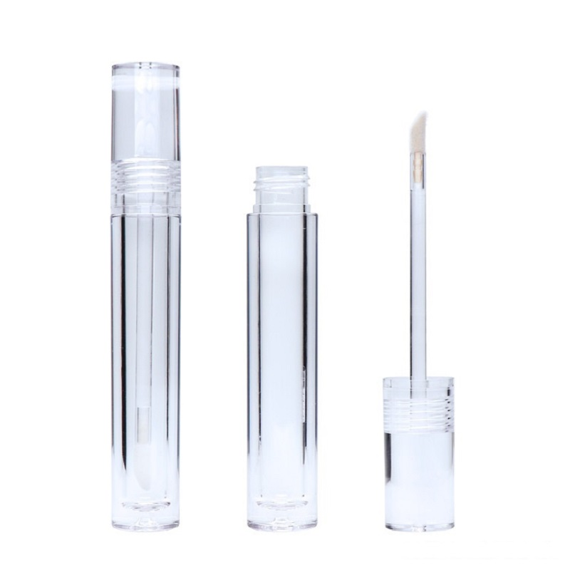 5ML Empty Lipgloss Containers Tubes Round Clear Cosmetic Lipgloss Tube Packaging Lip Gloss Tubes With Wand 10pcs 30pcs 50pcs