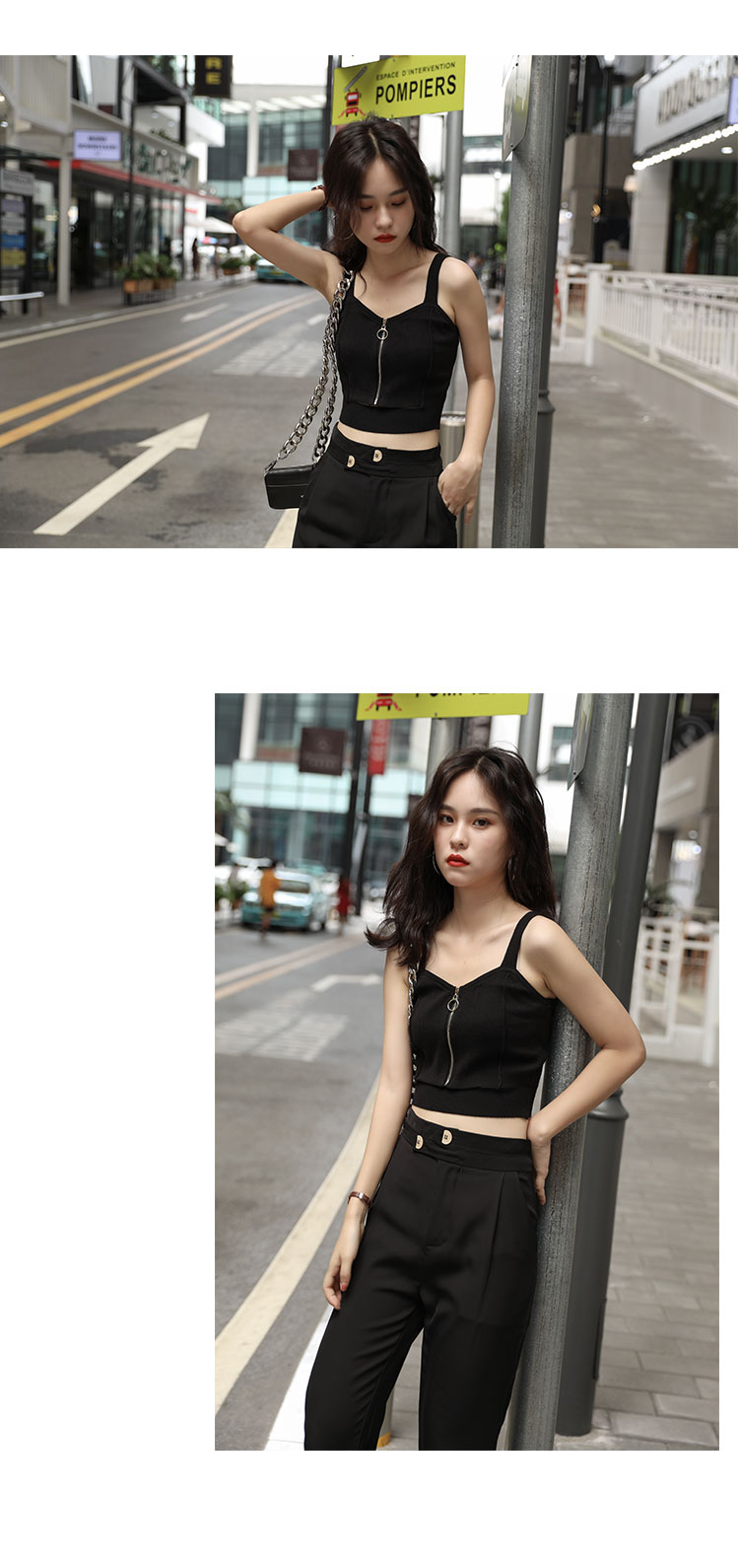 H47403da6f0744893b77a8e585dc35c36F - HELIAR Tops Women Crop Top Club Sexy Zipper Knitting Camisole With Hole Female Tank Tops Ladies Sleeveless Solid Strap Top Women