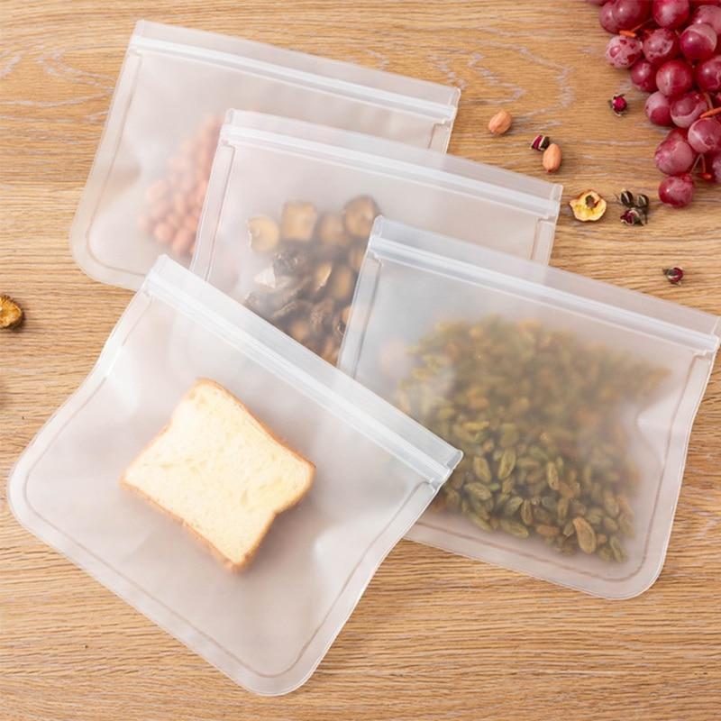 12 Pcs Silicone Food Storage Bag Preservation Fridge Freezing Food Storage Reusable Jar Bags Fresh Produce Bottle Ziplock Bag