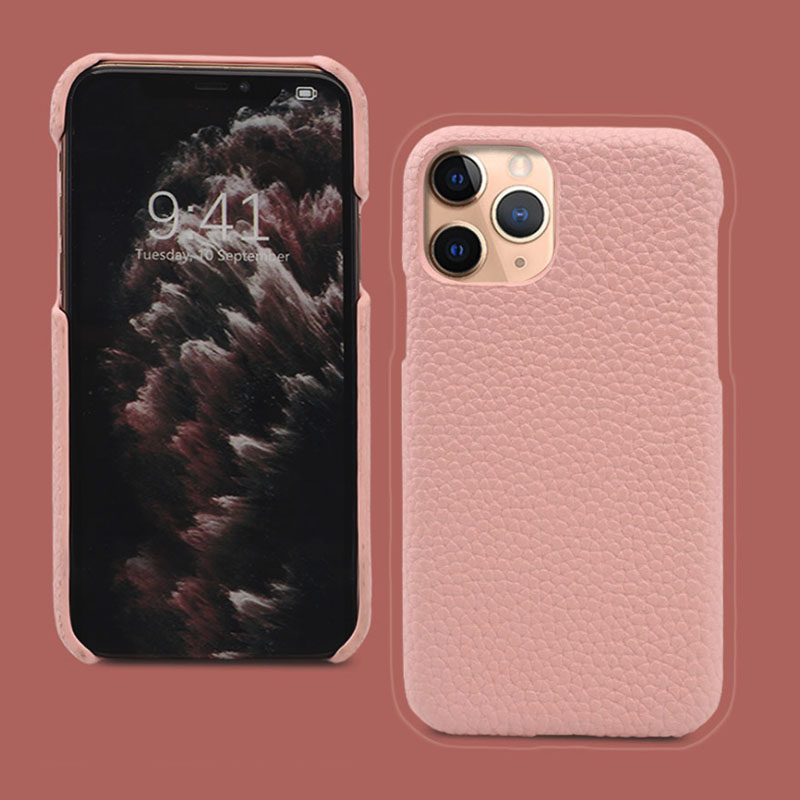 Customized Letters Genuine Leather Phone Case For IPhone Real Pebble Leather Mobile Phone Cover Men Women Protective Phone Case