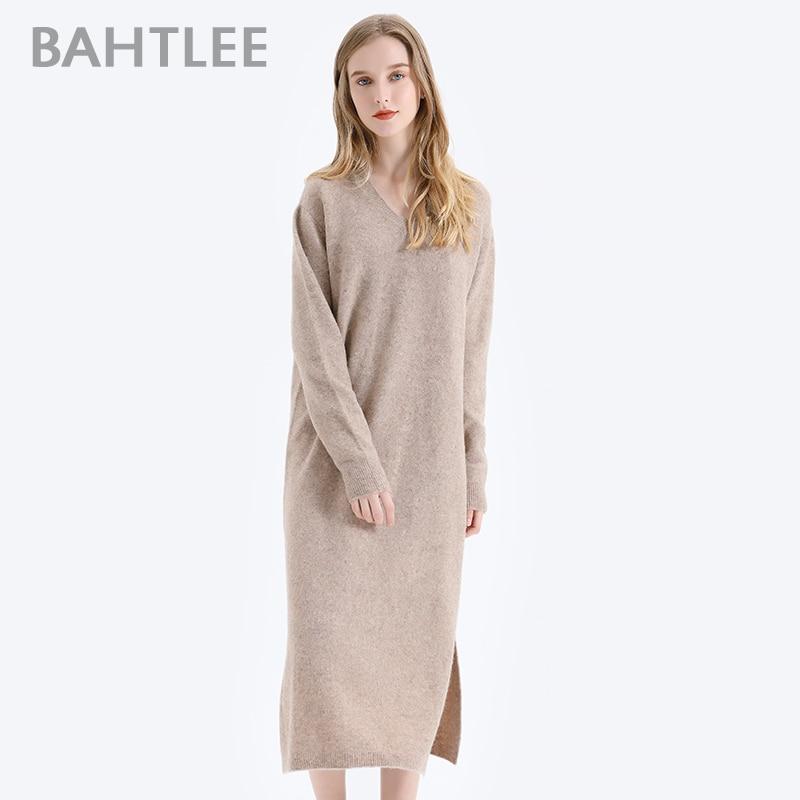 BAHTLEE Women Yak Velvet Long Pullover Sweater Autumn Winter Wool Knitted Jumper Long Sleeves V-Neck Loose Style