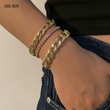 SHIXIN 3 Pcs Thick Link Chain Crystal Bracelet Set for Women Layered Trendy Rhinestone