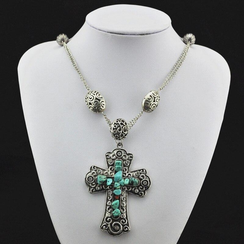 Sheet8-croix collier pendentif bijoux femmes, Vintage, argent Antique, alliage Tibet, grossiste