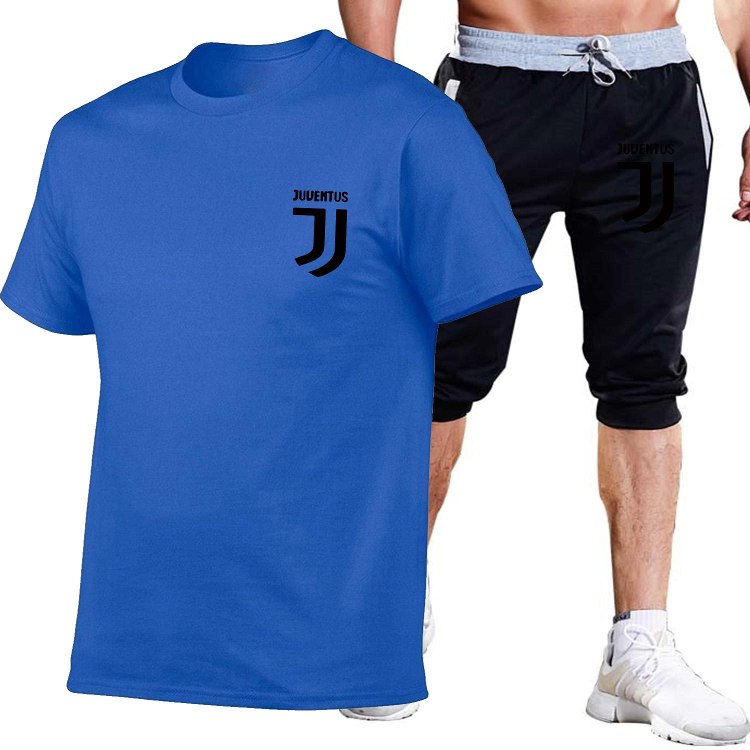 Summer Men And Women Printed Cotton Short-sleeved T-shirt + Capri Shorts Leisure Sports Suit