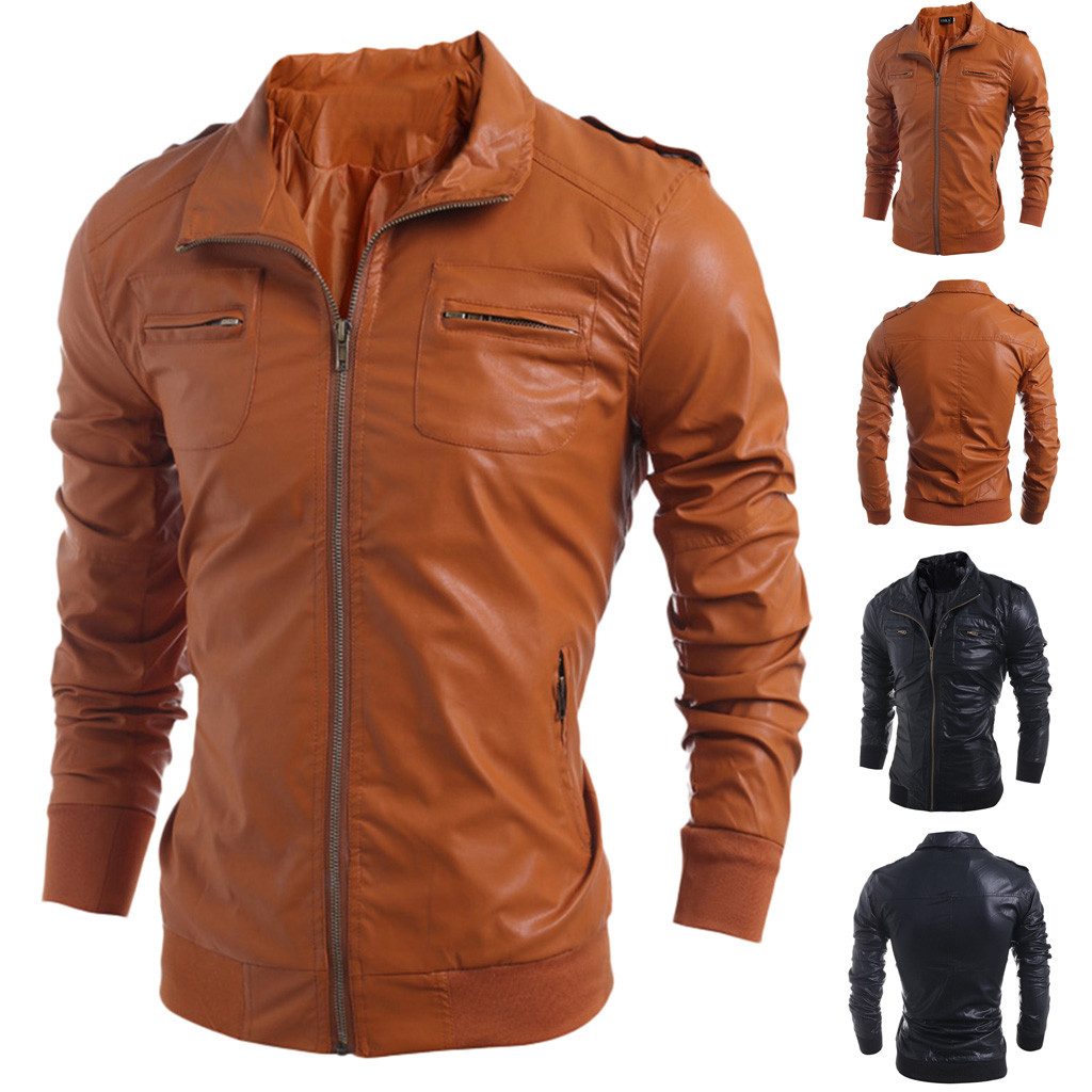 Warm Coat Outwear Winter Jacket Motorcycle Autumn Support Biker Zipper Men