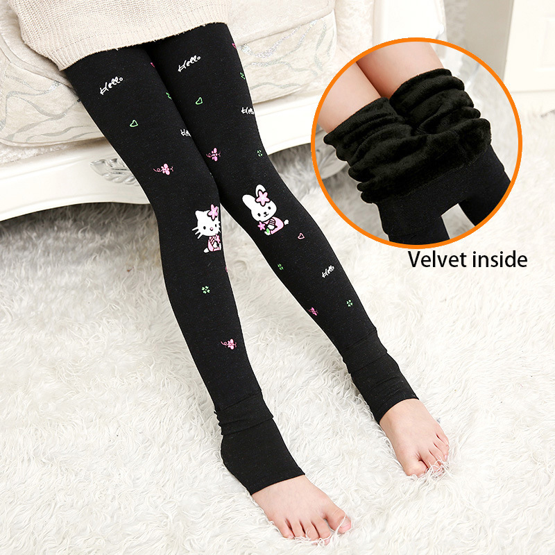 Winter Baby Girls Leggings Children Warm Legging Velvet Kids Girls Pants Teenage Pantyhose Girls Trousers Cat Rabbit Printing