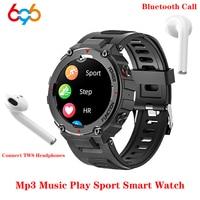 Reloj inteligente F26 para hombre, dispositivo deportivo completamente táctil, con Bluetooth, llamadas, 2021 pulgadas, con conexión de auriculares BT, rastreador de Fitness, novedad de 1,28