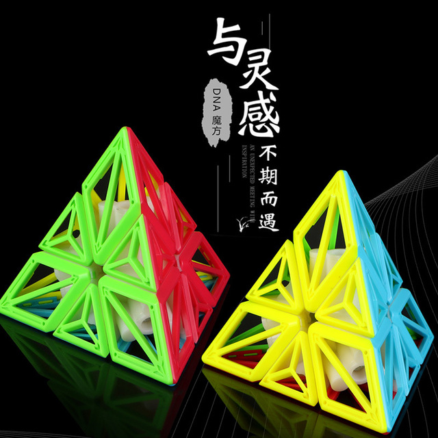QiYi 3x3x3 DNA Pyramid Cube Stickerless Magic Puzzle Speed Cubes professional 3×3 Cube Educational Toys For Children Gift