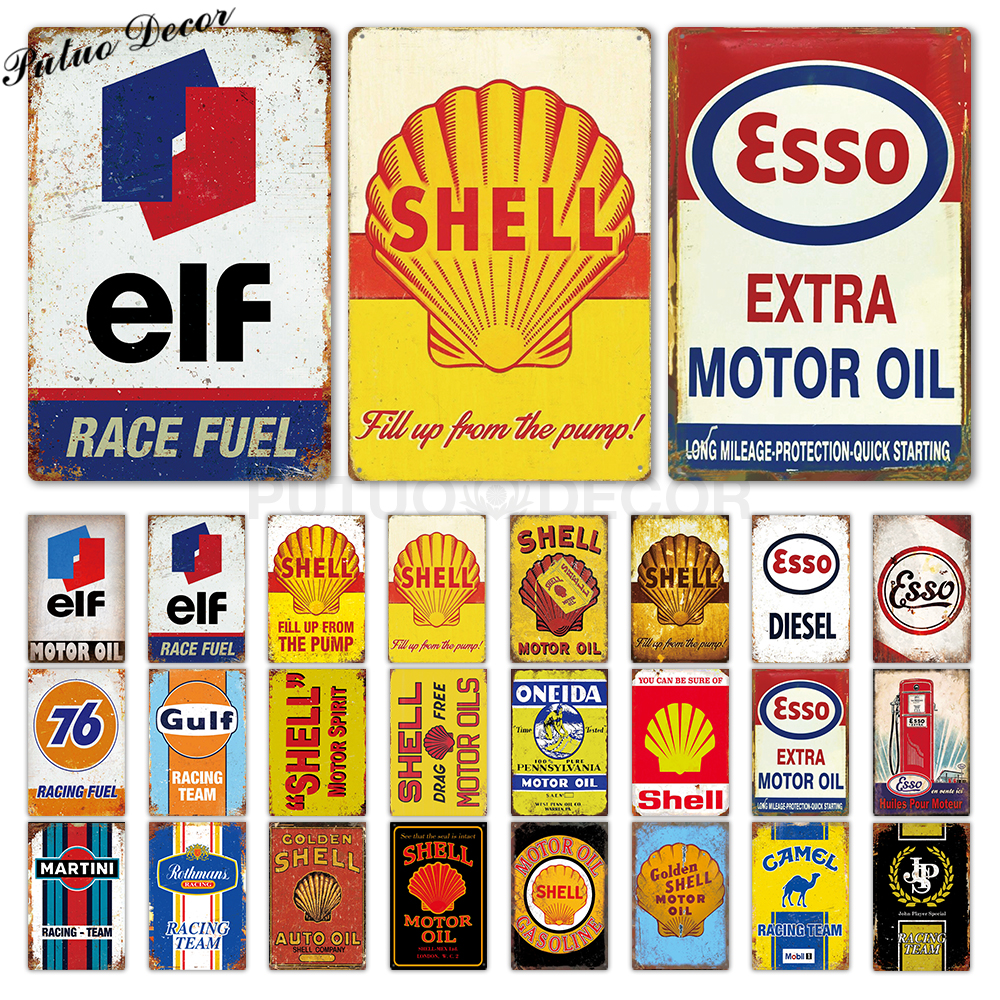 Retro Fuel Station Garage Signs Logo Automotive Stainless Steel Fridge Magnets