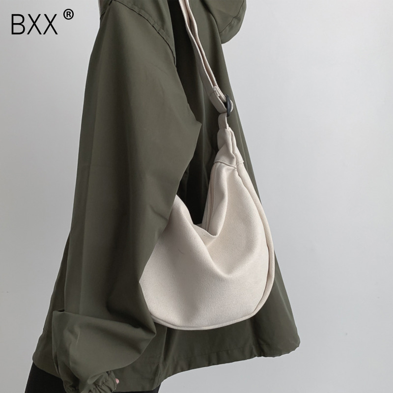 [BXX] Solid Color Canvas Crossbody Dumplings Bags For Women 2020 Simple Casual Messenger Shoulder Bag Female Handbags HK126