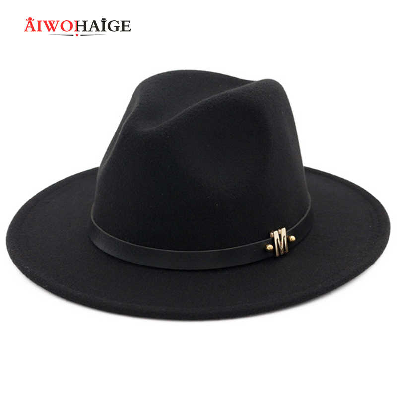 ホットファッション女性ヴィンテージフェドーラ男性女性トップ帽子冬つば広帽子古典的なシリンダーキャップウール