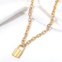 Ожерелье в стиле хип-хоп, панк, цепочка с замком, ожерелье для женщин и мужчин, подвеска с замком, винтажное ювелирное изделие, массивный металлический воротник из нержавеющей стали