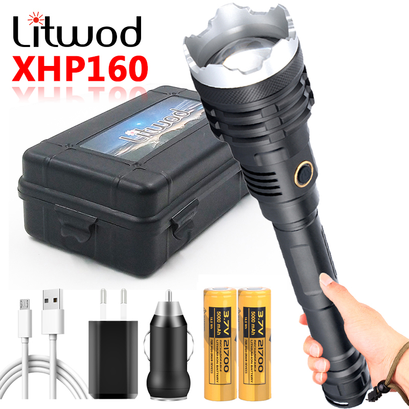Most Powerful XHP160 16-Core LED Flashlight USB Rechargeable Torch Light 21700