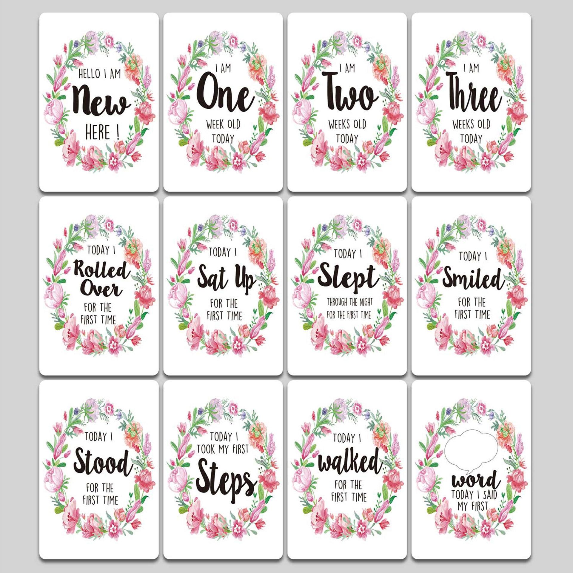 New 12 Sheet Milestone Photo Sharing Cards Gift Set Baby Age Cards - Baby Milestone Cards, Baby Photo Cards - Newborn Photo