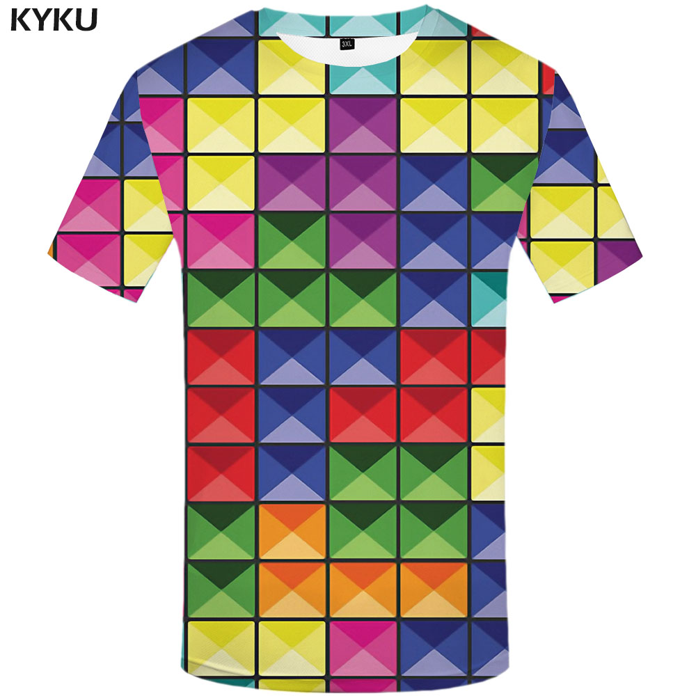 KYKU Tetris T Shirt Men Psychedelic Funny T Shirts Geometric Shirt Print Rubik'S Cube Tshirts Casual Colorful Tshirt Printed