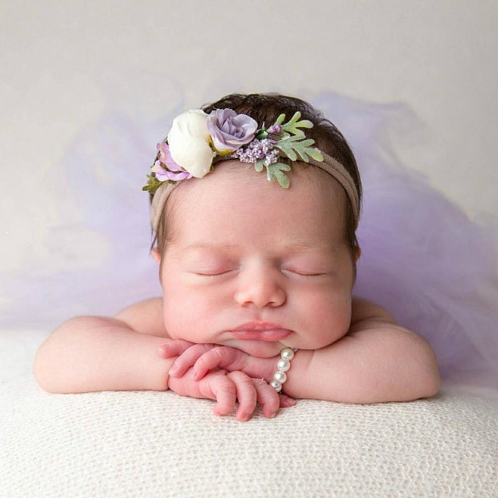 2Pcs/Set New Baby Headdress Infants Photo Manual Headband Newborn Photography Props Head Decoration Jewelry Photo Hair Band