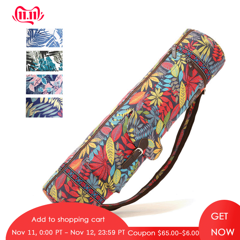 Printed Yoga Bag 72*18*18cm Yoga Mat Bag Exersice Mat Bag Pilates Pad Backpack Sports Knapsack Fitness Dance Gymnastics Mat Case