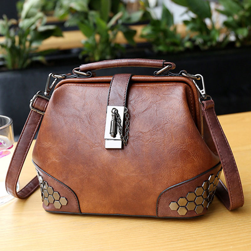 Fashion Leather Women's Shoulder Bags Women Casual Wild Retro Lock Embroidery Designer Handbag Solid Color Female Messenger Bags