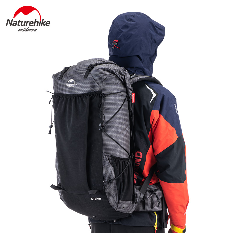 NatureHike Outdoor Climbing Bag Large Capacity Travel Hiking Camping Backpack 60+5L Lightweight Mountaineering Backpacks Black