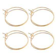 20 шт./лот, Золотые серьги из нержавеющей стали, большие круглые проволочные обручи, высококачественные серьги для самостоятельного изготов...