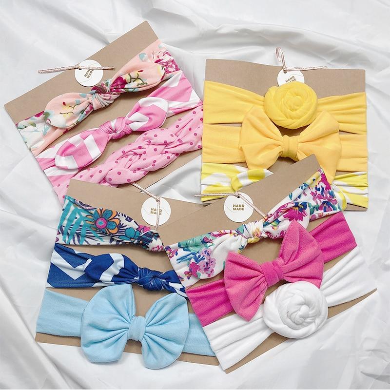 3 шт./компл.; Детская лента для волос; Ободок для волос для новорожденных милый волос с бантом для маленькой девочки с цветочным принтом бант ...