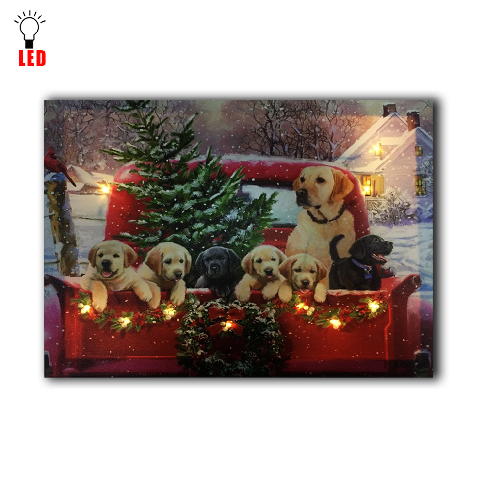 US $14 59 OFF LED canvas art wall decor Lighted dogs with christmas tree at car decoration wall painting picture light up printing in Painting &
