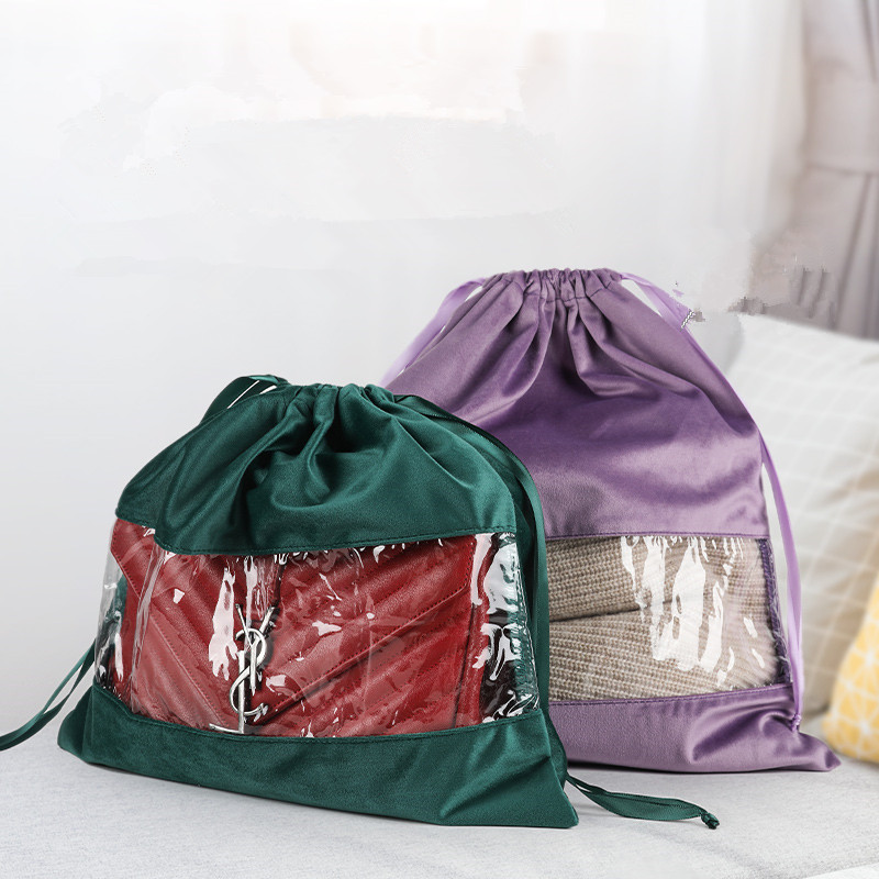 PVC Transparent Velvet Drawstring Bags Wedding Partty Candy Gift Bags Storage Packaging Bags Supplier