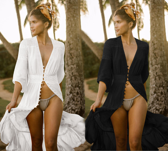 Cotton Spell Row Buttons Beach Cover-up, Sun Beach Maxi Dress