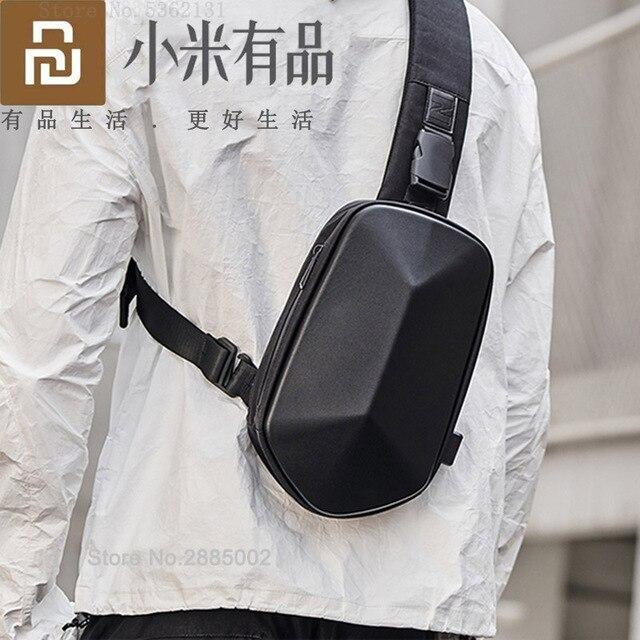 Youpin TAJEZZO Polyhedron PU sırt çantası moda Crossbody çanta su geçirmez eğlence spor göğüs paketi çanta erkek seyahat kamp