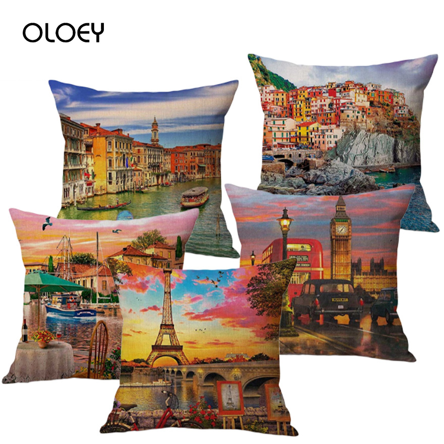 Paris Venice London Scenery Home Decoration Pillow Case France Italy England UK Europe Cotton Pillow Case Bedroom Decoration  ..