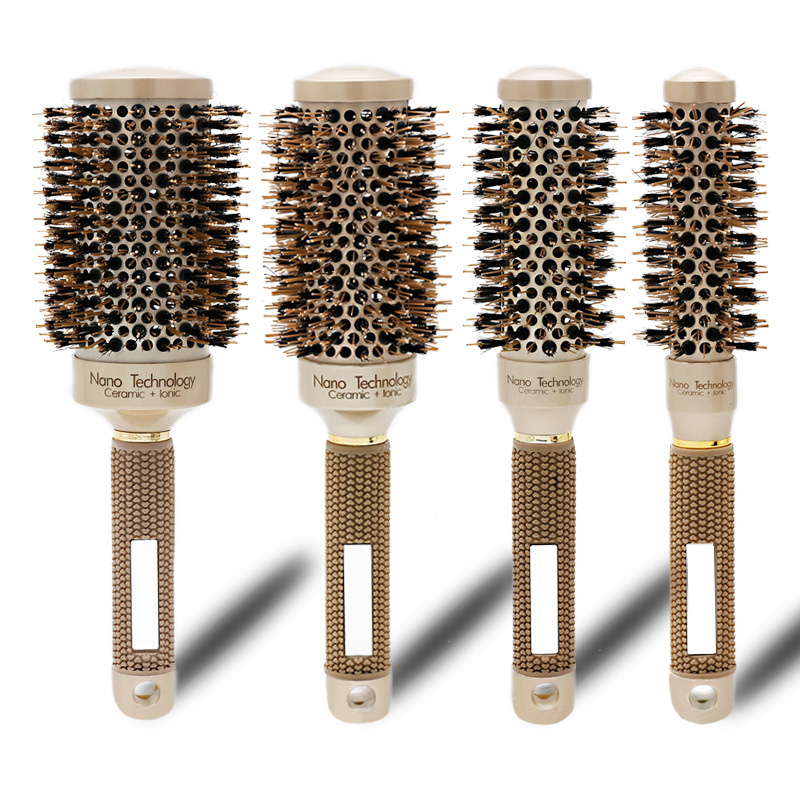 Newly Professional Thermal Ceramic Ionic Round Barrel Hair Brush Comb With Boar Bristle CLA88